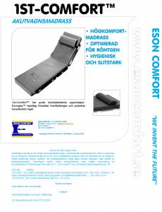 1st-Comfort - Akutvagnsmadrass med grepplist och slät översida